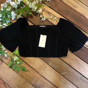 Zara Black Crochet Lace Crop Top